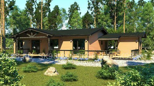 проект финского одноэтажного дома с сауной