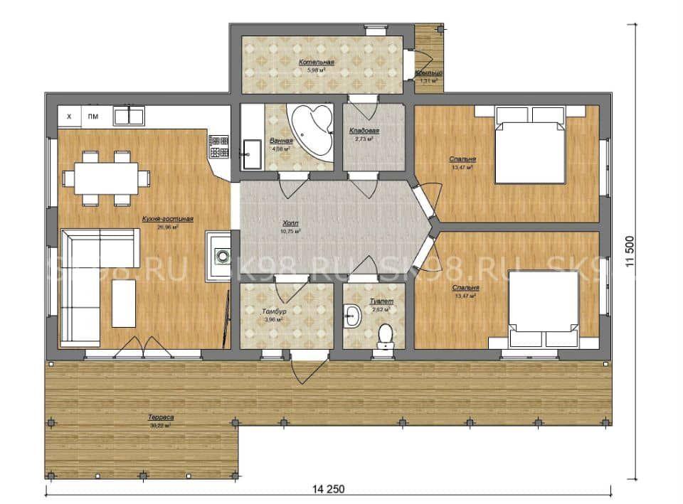 одноэтажный дом ONE 84 планировка