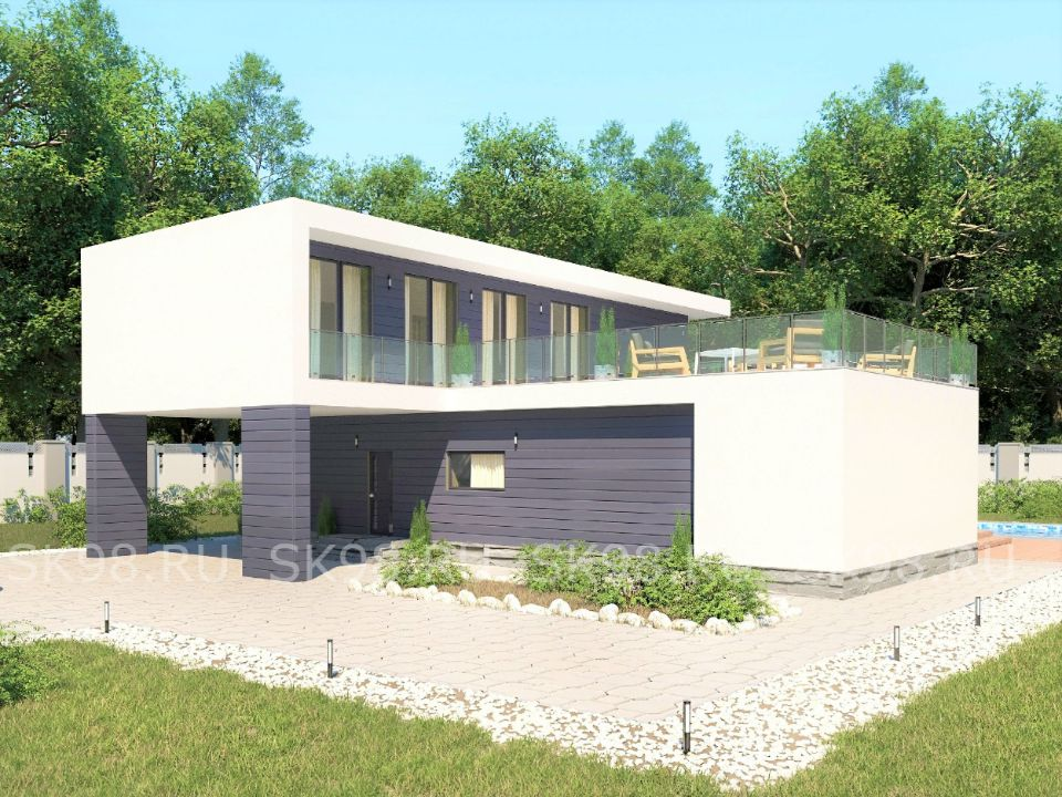 проект дома с патио - TWO 204