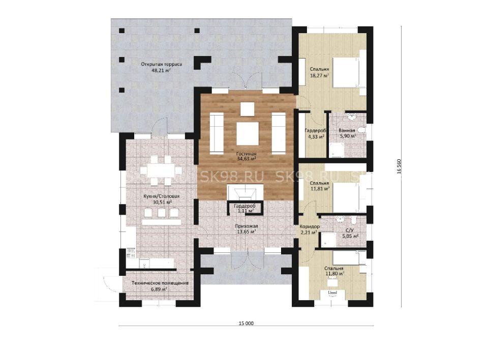 одноэтажный дом с тремя спальнями - ONE 146 в американском стиле планировка