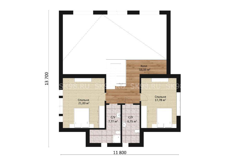 дом с мансардой и вторым светом TWO 185 планировка второго этажа