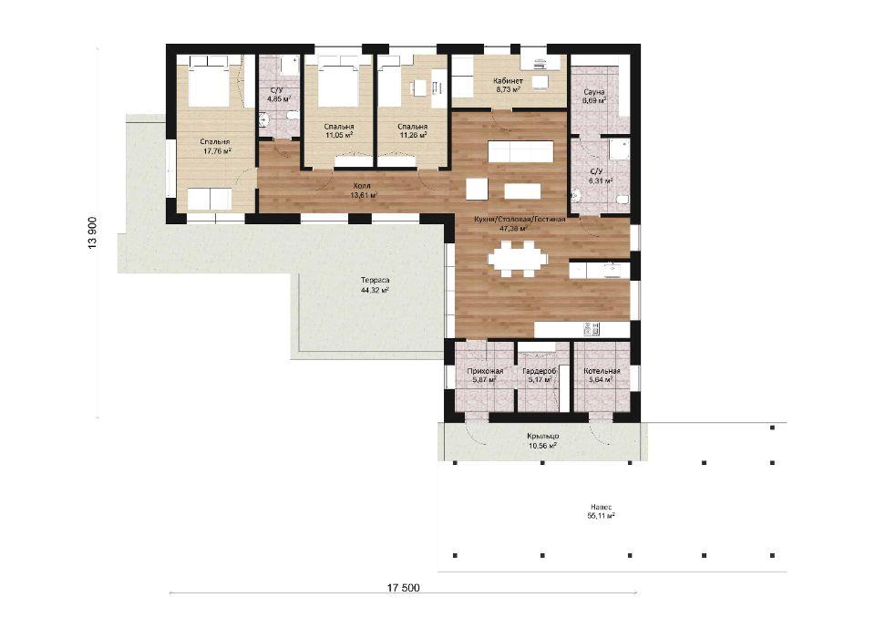 планировка дома ONE 144