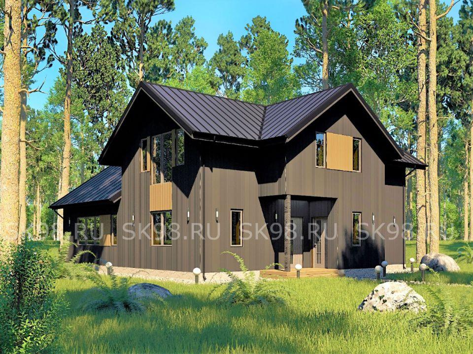 проект черного дома, с мансардой и вторым светом TWO 185