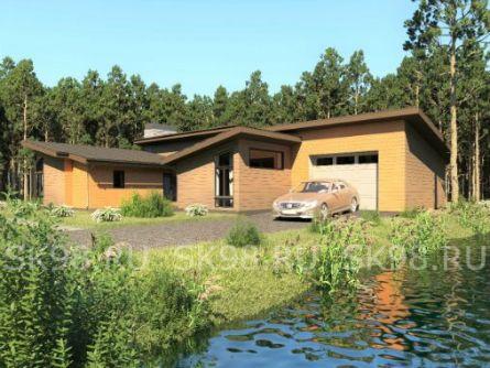 проект одноэтажного дома с гаражом в американском стиле