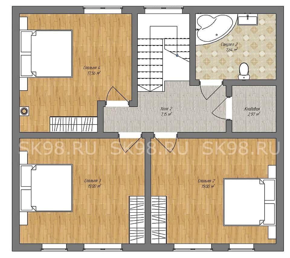 дом с мансардой TWO 148 планировка первого этажа
