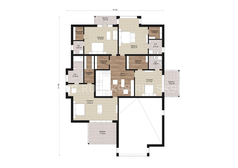 планировка двухэтажного дома с 4 спальнями и гаражом