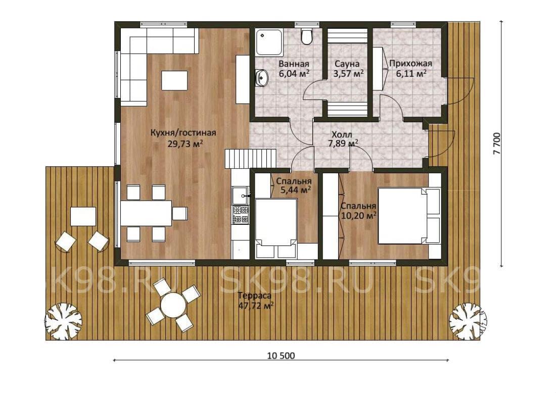 планировка дома с 3 спальнями и сауной