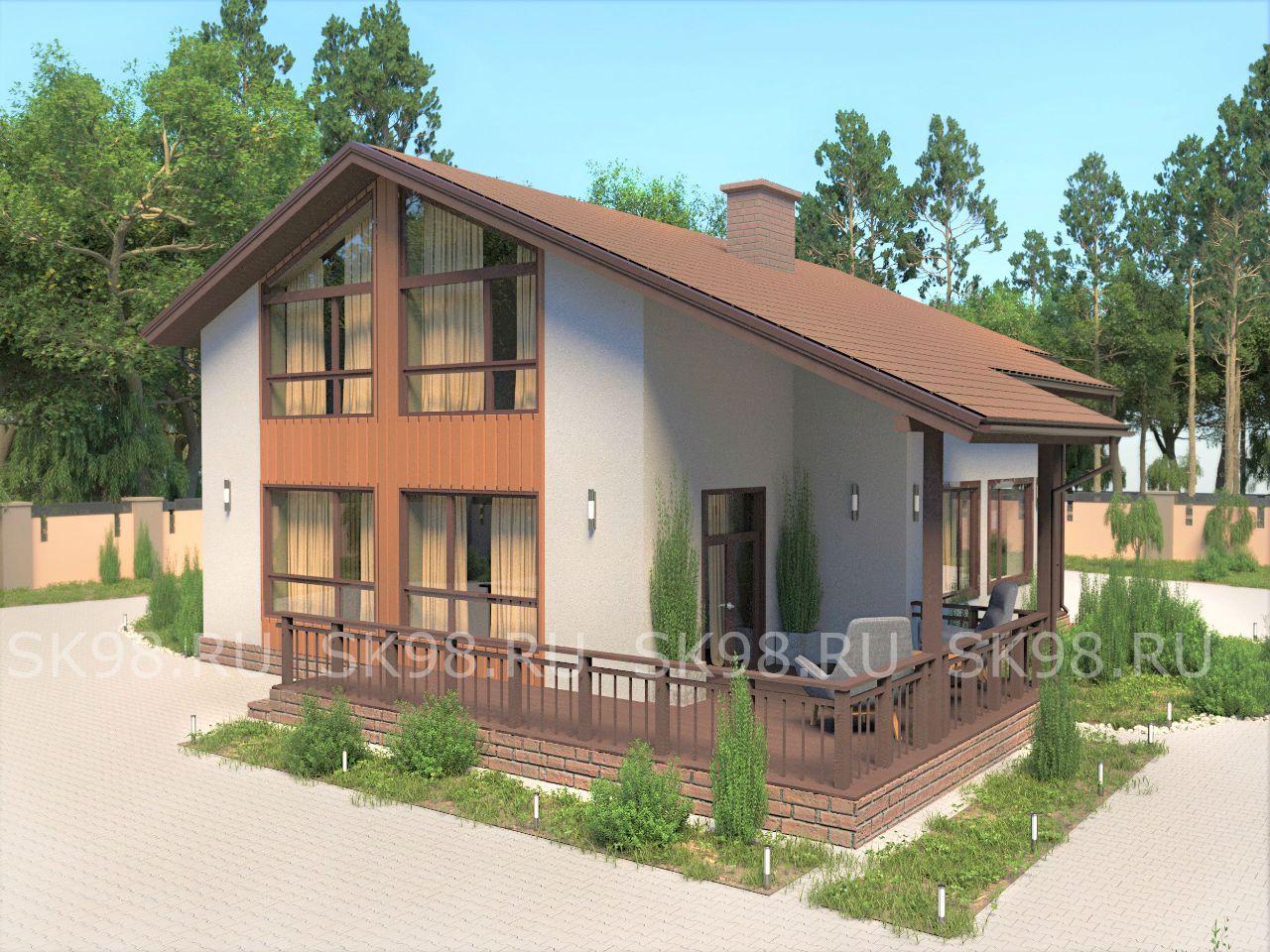 дом с мансардой и террасой - TWO 206
