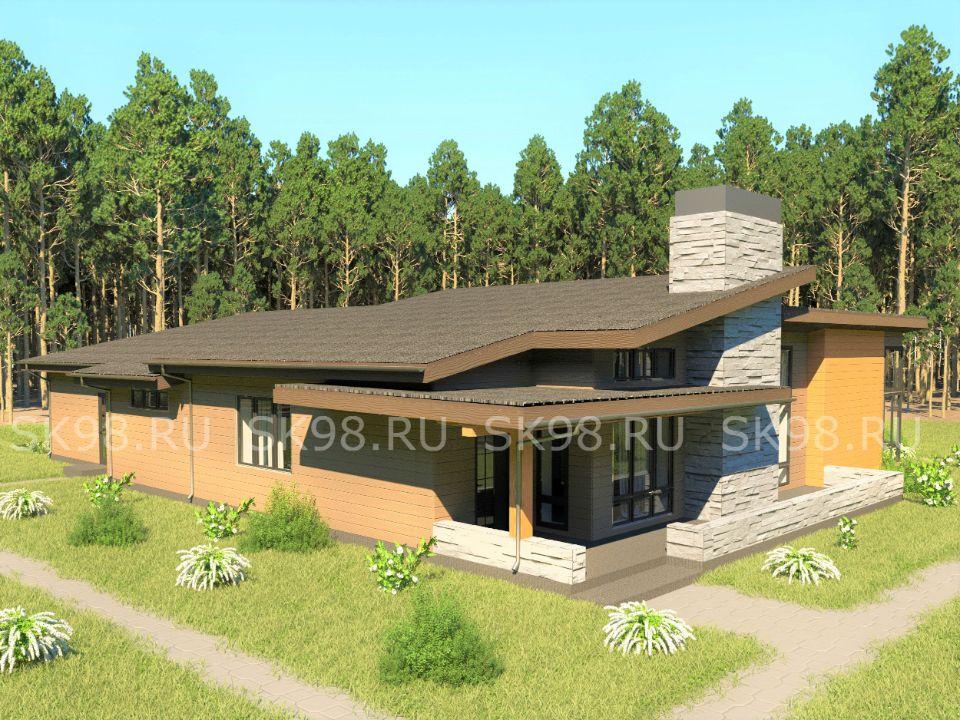 одноэтажный дом с гаражом в американском стиле - ONE 183
