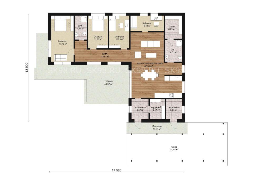 одноэтажный дом ONE 144 планировка