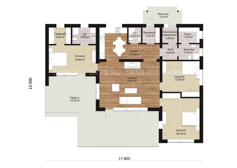 одноэтажный дом ONE 134 планировка