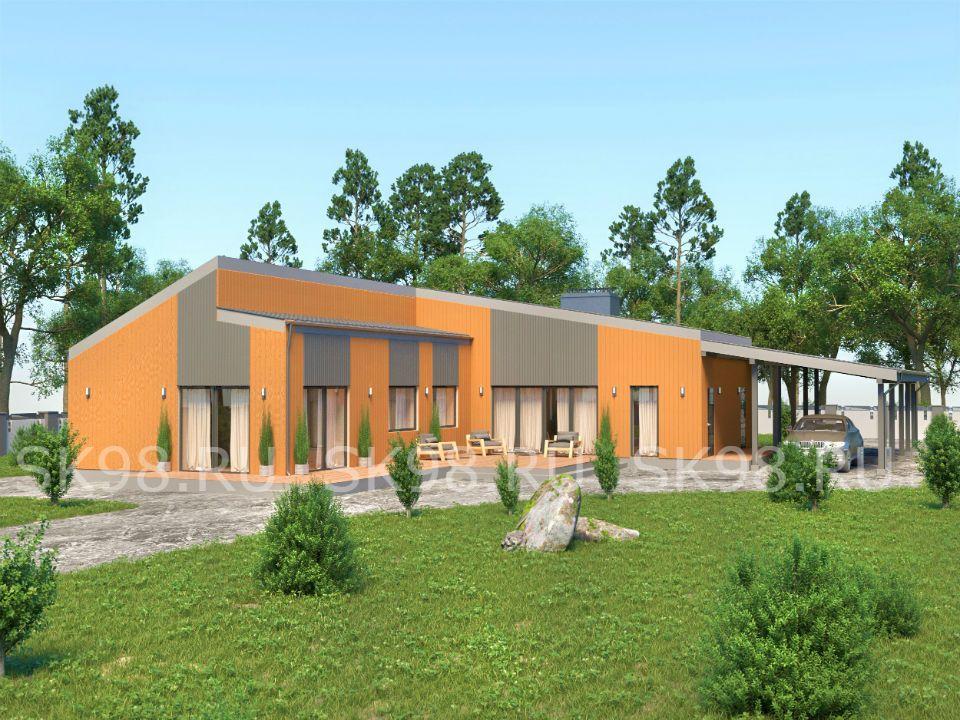 проект одноэтажного дома ДО 200 М КВ С НАВЕСОМ
