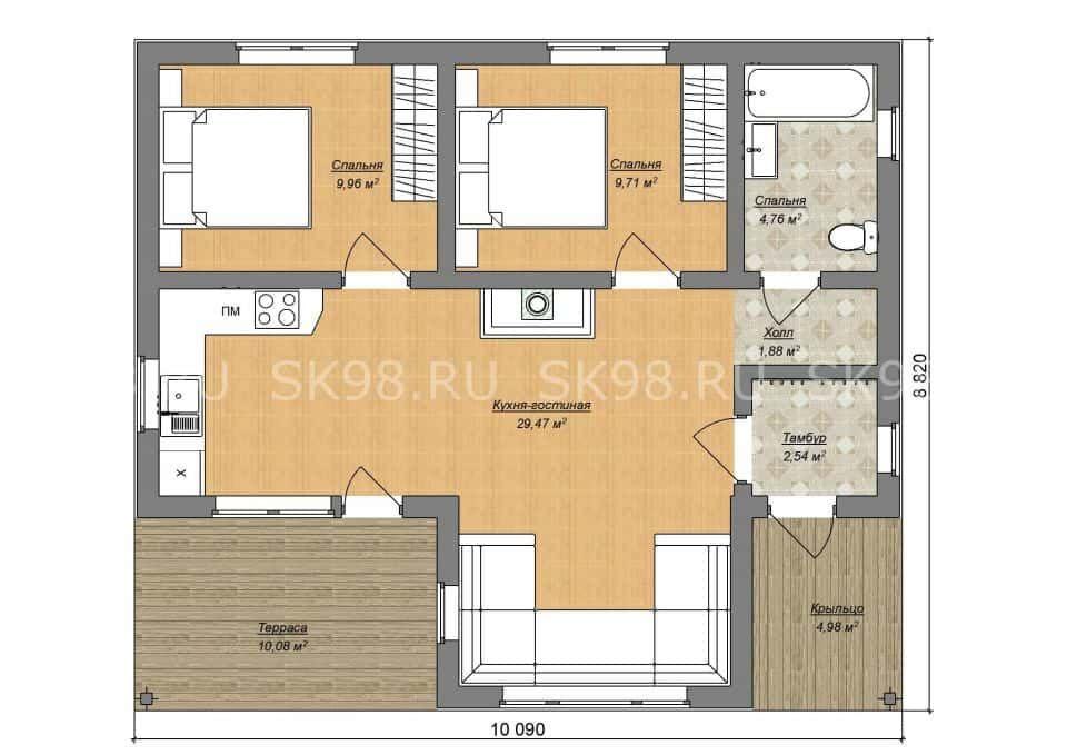 одноэтажный дом ONE 58 планировка