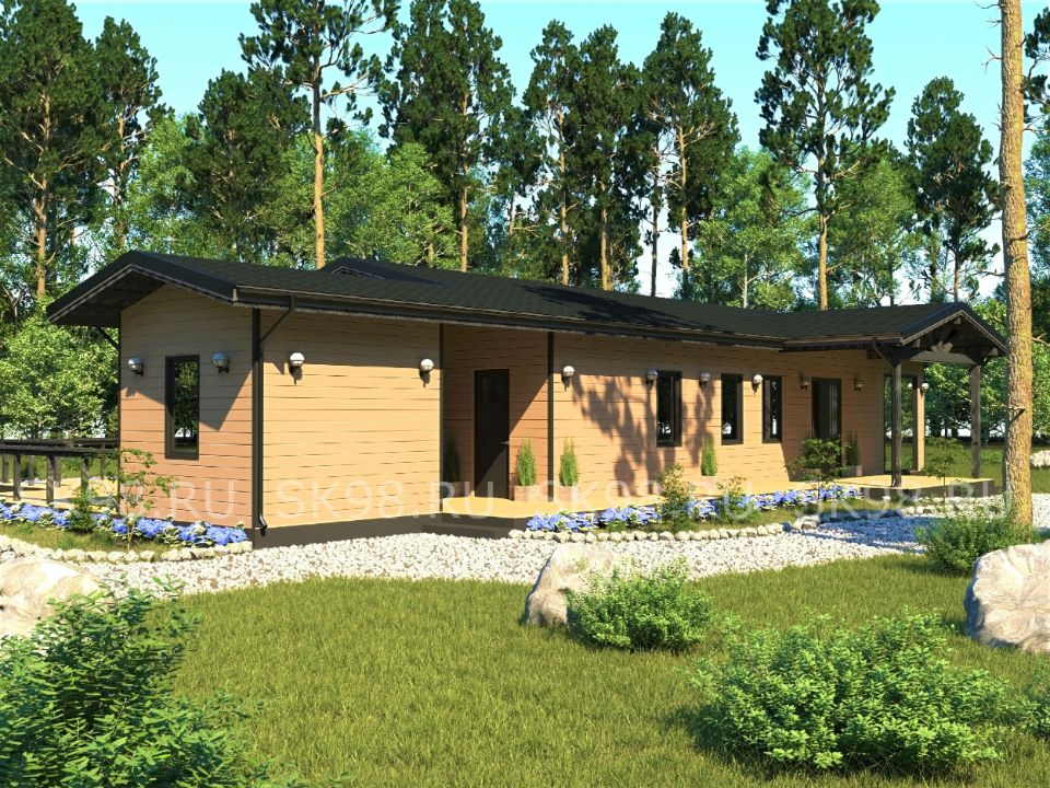 финский проект одноэтажного дома с сауной - ONE 123