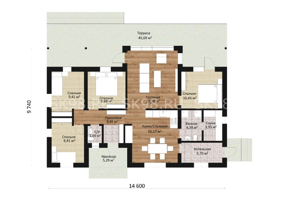 одноэтажный дом ONE 100 планировка