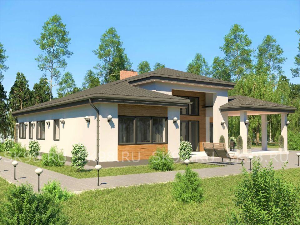 проект одноэтажного дома с террасой - ONE 146, в американском стиле