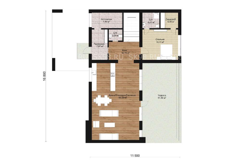 проект дома с плоской крышей - TWO 204, планировка первого этажа
