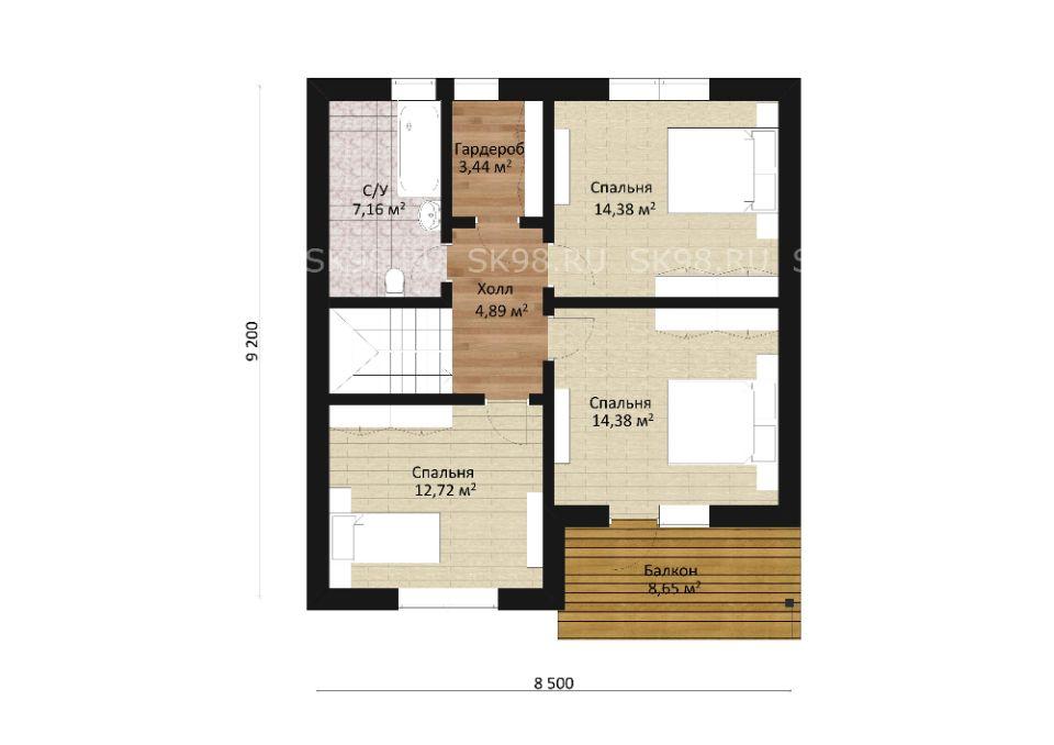 дом с мансардой TWO 118 планировка второго этажа