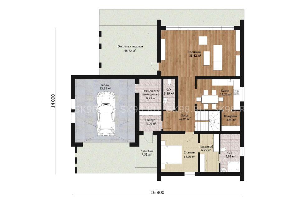 дом в стиле барнхаус TWO 247 планировка первого этажа