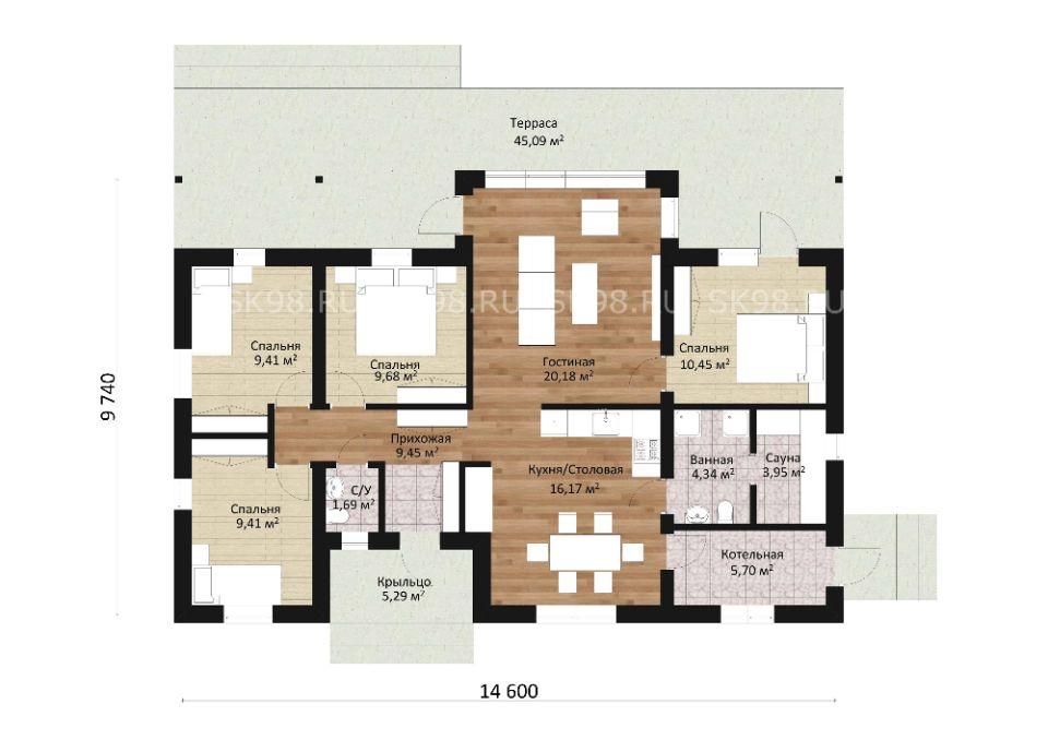 планировка дома ONE 100