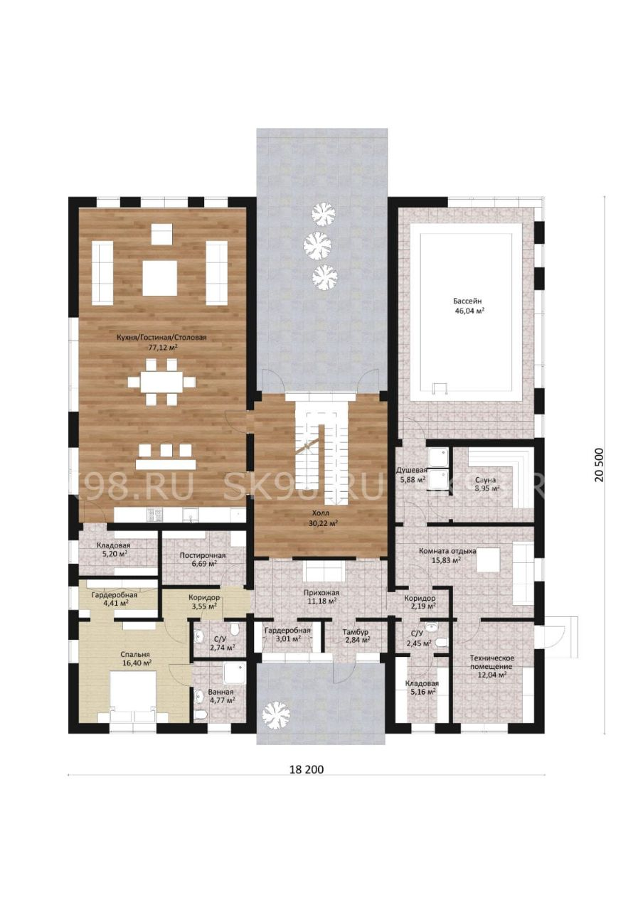 планировка дома с бассейном внутри