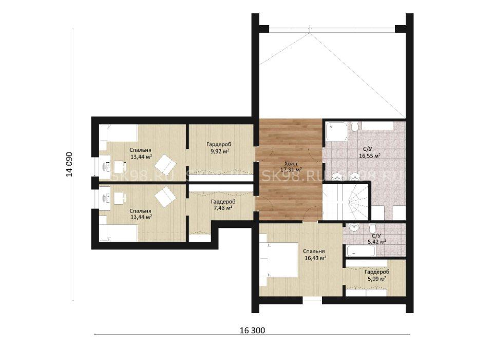 дом в стиле барнхаус TWO 247 планировка второго этажа