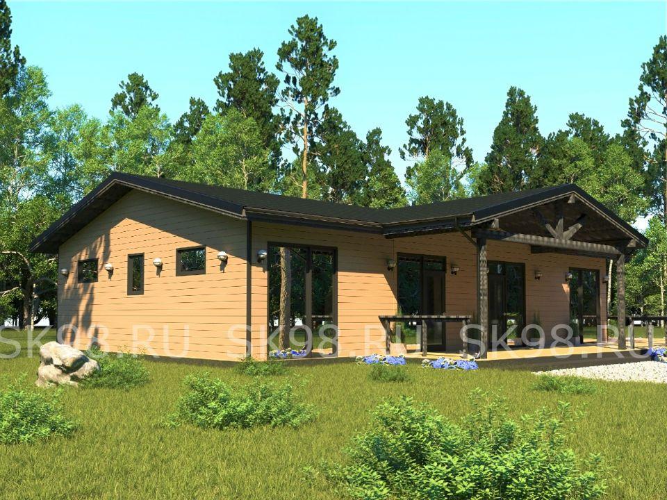 проект одноэтажного дома 3 СПАЛЬНИ И САУНА
