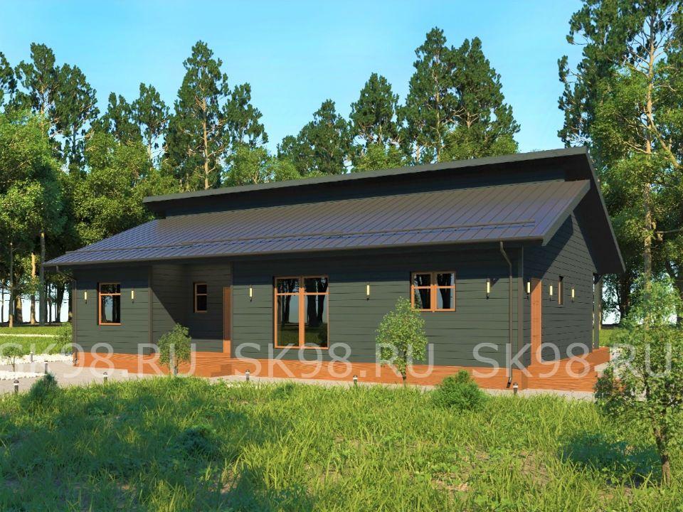 проект одноэтажного дома с 4 спальнями, 100 М.КВ. ONE 100
