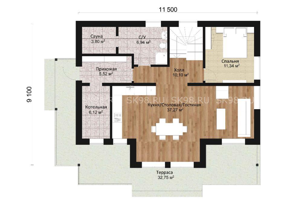 дом с мансардой TWO 141 планировка первого этажа