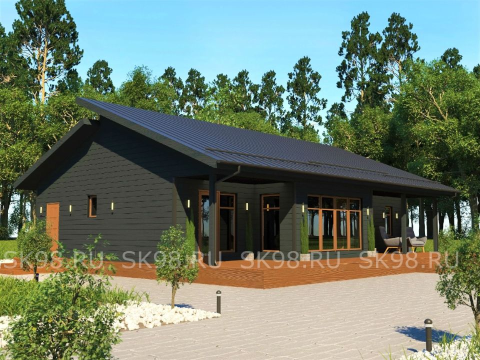 проект одноэтажного дома четыре спальни и сауна - ONE 100