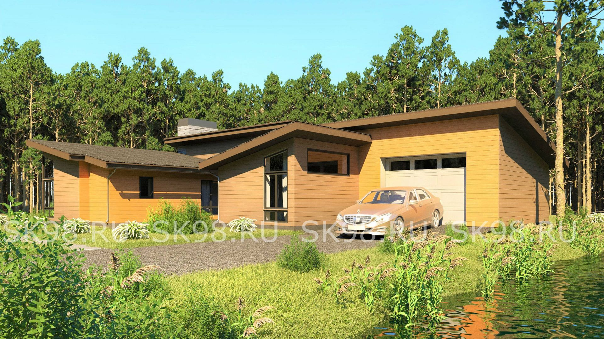 проект одноэтажного дома с гаражом - ONE 183
