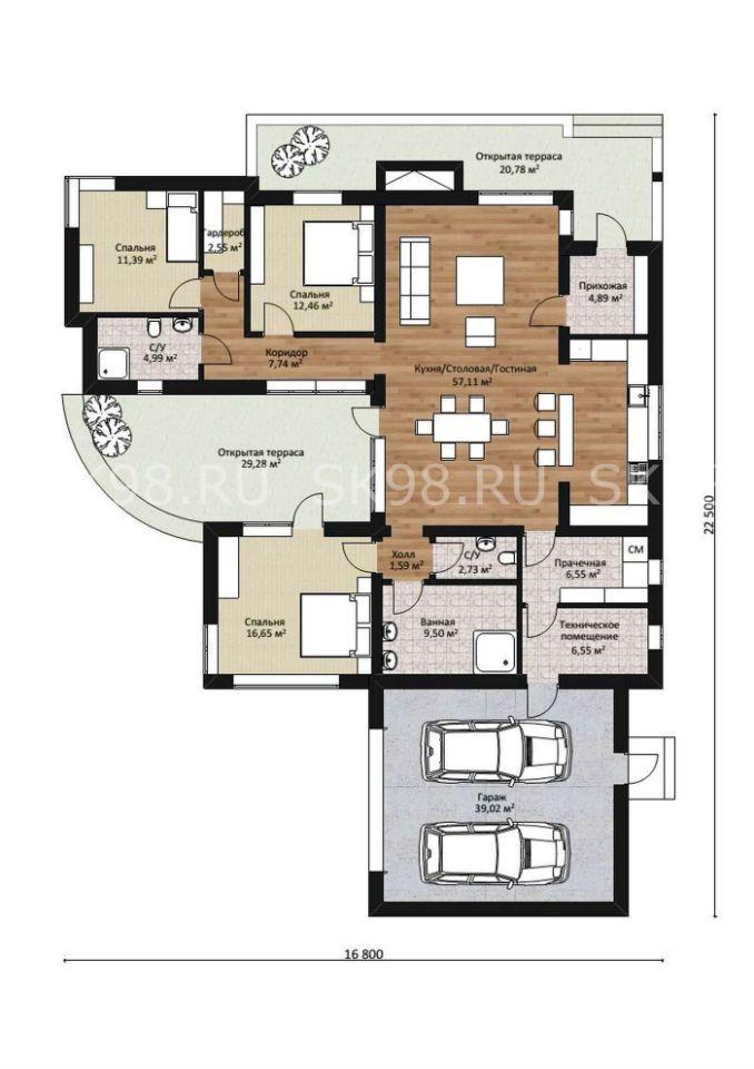 одноэтажный дом с гаражом ONE 183 планировка