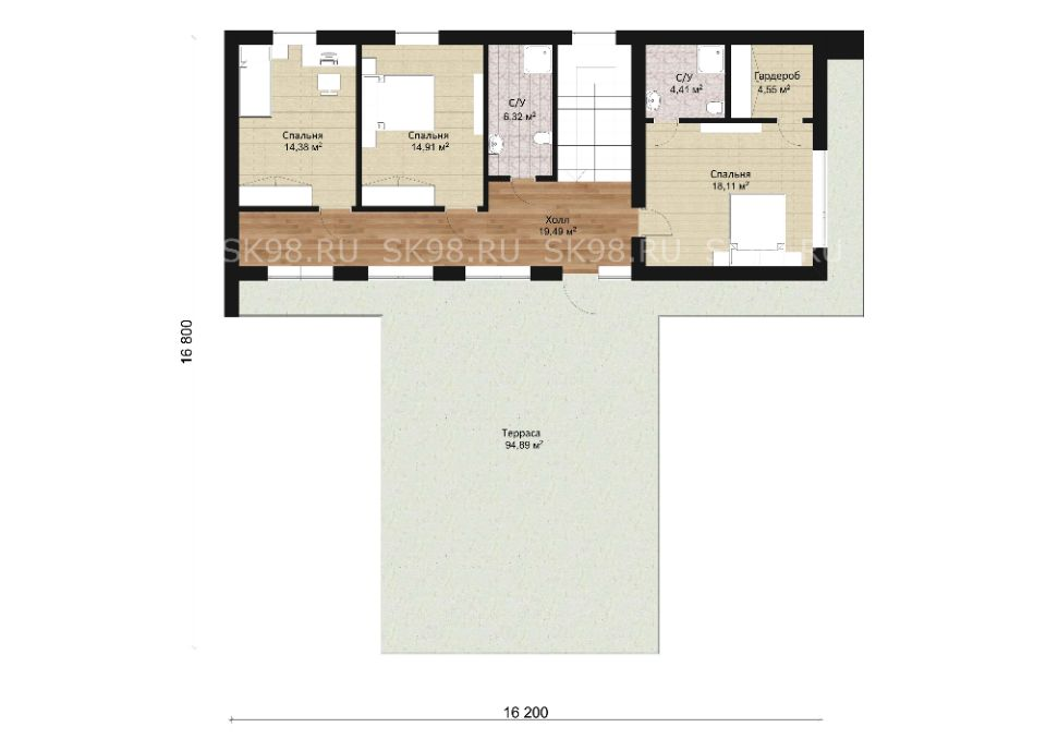 проект дома с плоской крышей - TWO 204, планировка второго этажа