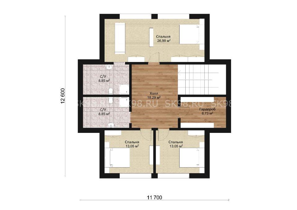 дом с мансардой и террасой - TWO 206, планировка второго этажа