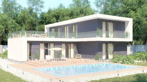 проект двухэтажного дома с плоской кровлей