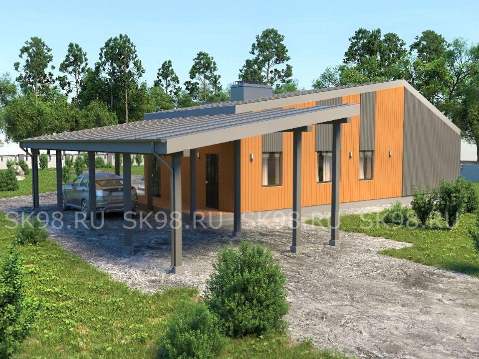 проект одноэтажного дома с гаражом - ONE 144