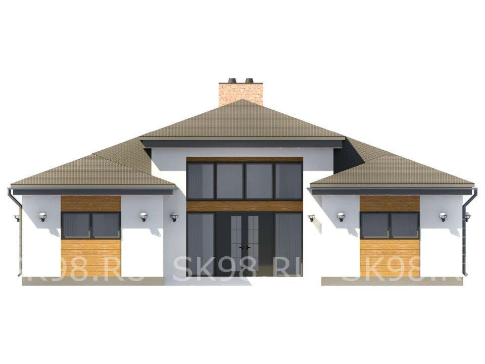 фасад одноэтажного дома - 183 м²