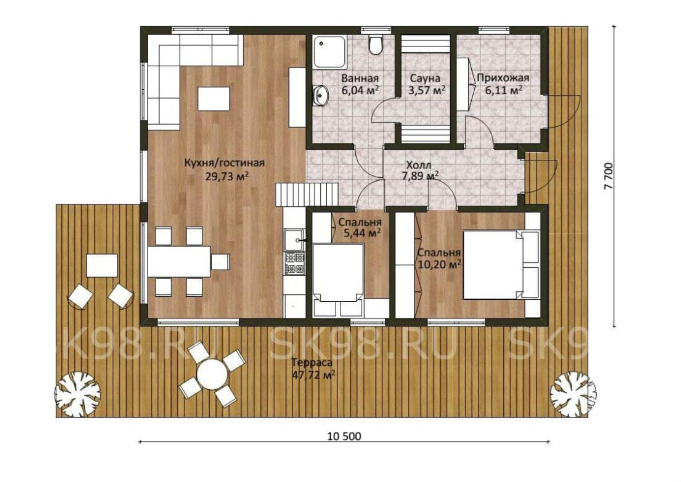планировка первого этажа дома с лофтом - 133 м²