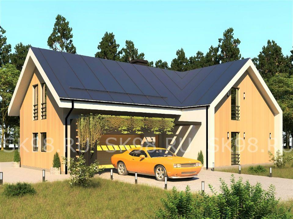 проект двухэтажного дома с большим остеклением В СТИЛЕ БАРНХАУС TWO 247