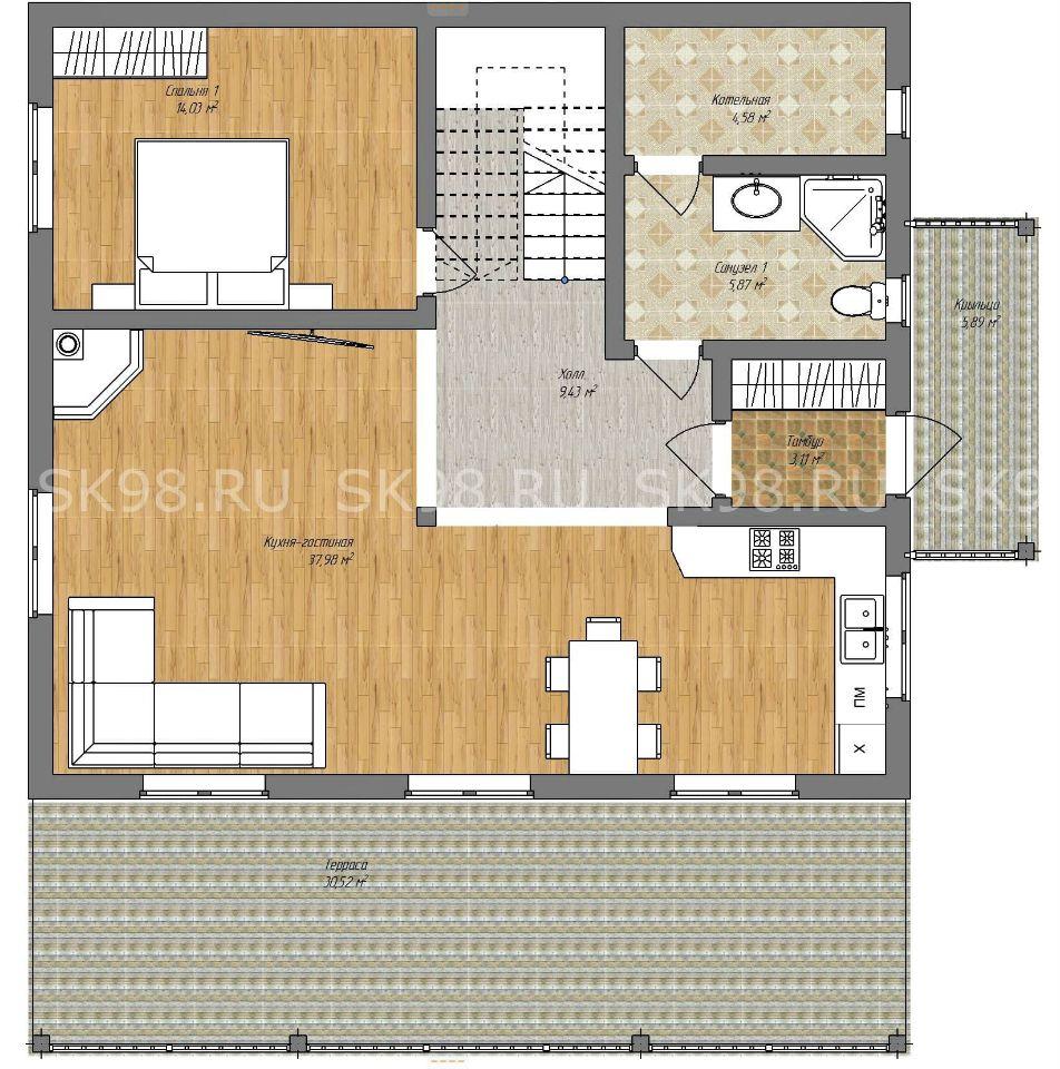 планировка дома TWO 148