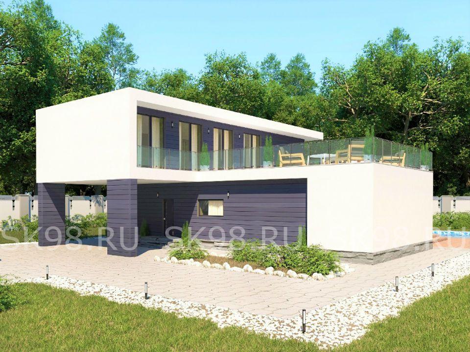 проект дома с плоской крышей TWO 204