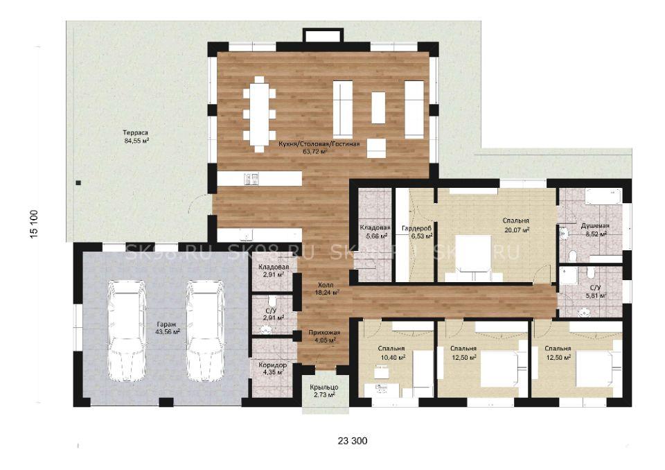 одноэтажный дом с гаражом ONE 221 планировка