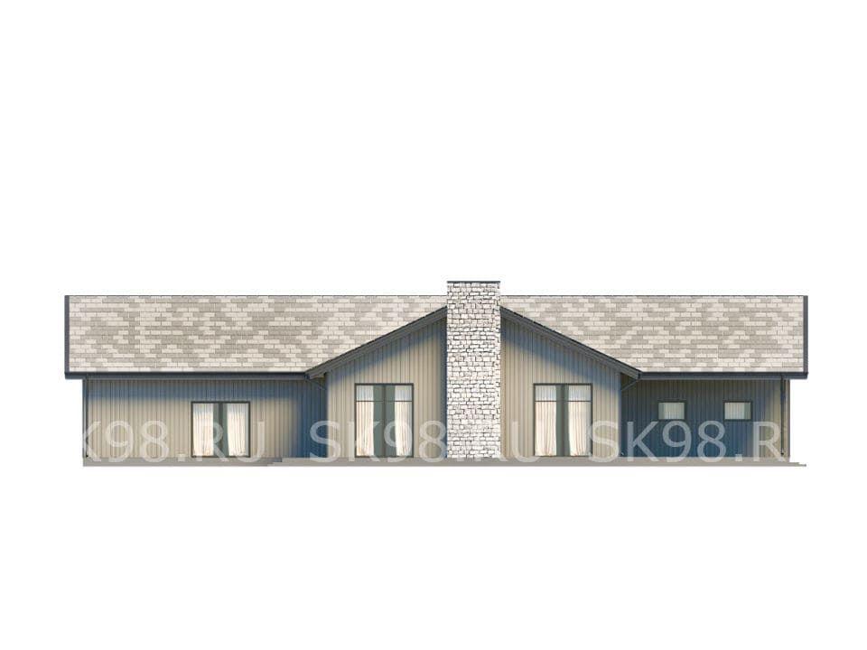 фасад ОДНОЭТАЖНОГО ДОМА 200 М КВ В АМЕРИКАНСКОМ СТИЛЕ