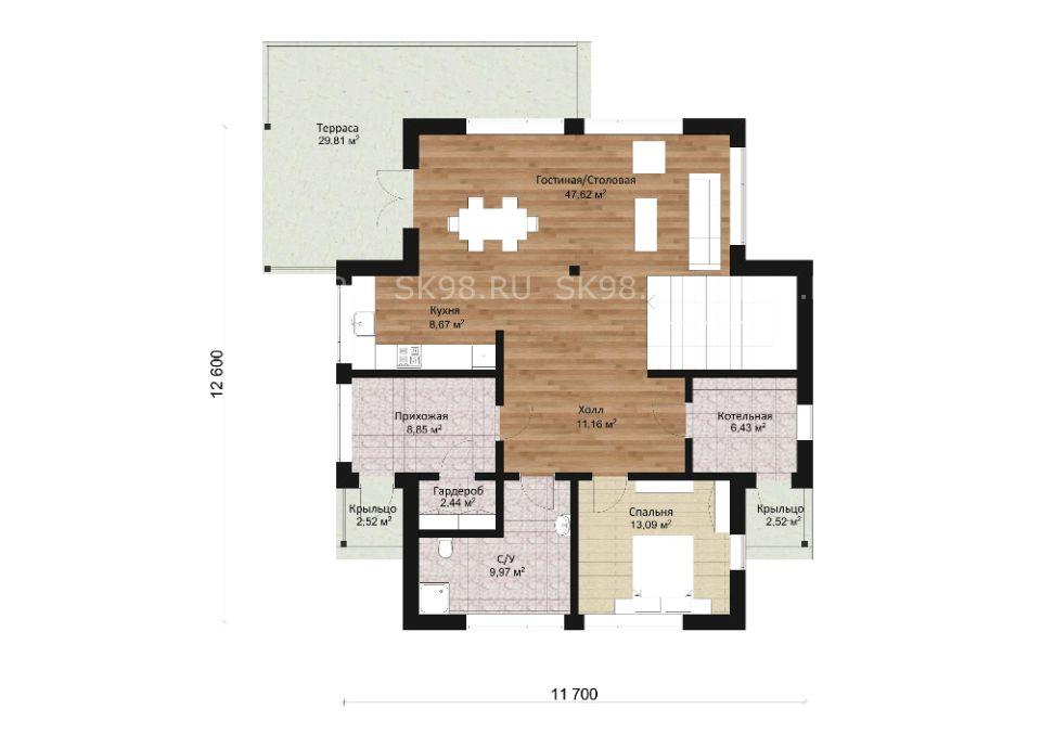 планировка дома TWO 206