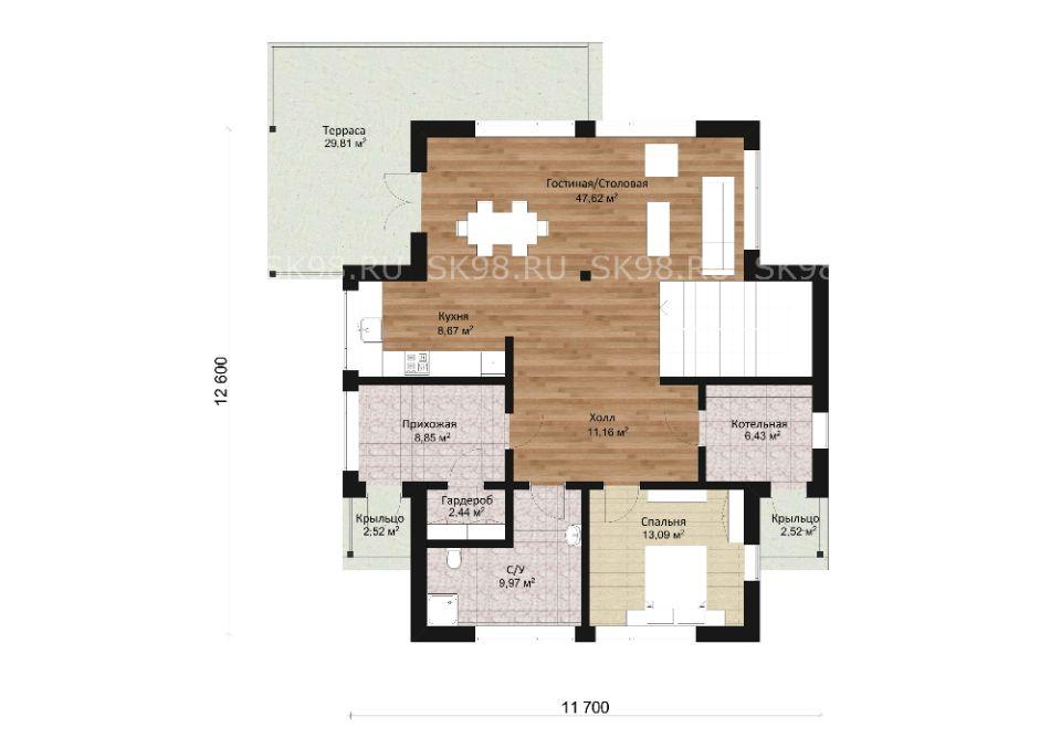 дом с мансардой и террасой - TWO 206, планировка первого этажа
