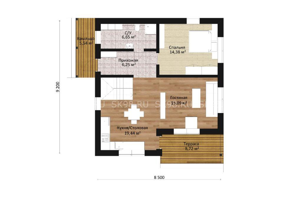 дом с мансардой TWO 118 планировка первого этажа