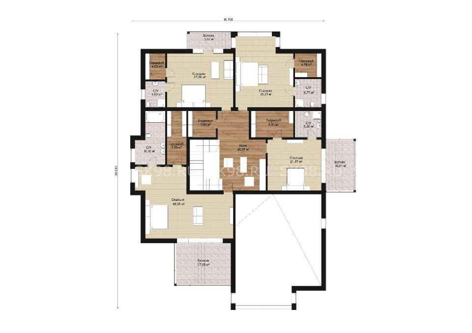 большой двухэтажный дом TWO 478 планировка второго этажа