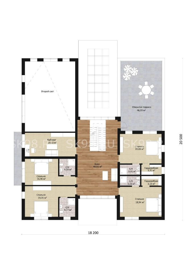 планировка дома с бассейном - TWO 423 второй этаж