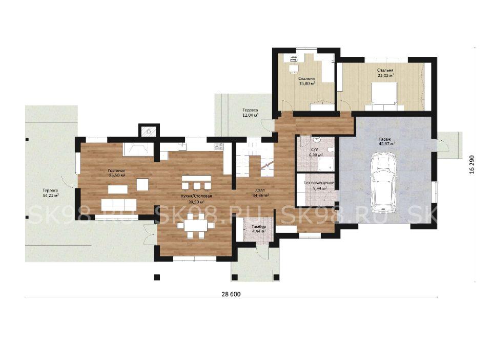 двухэтажный дом с гаражом TWO 312 планировка первого этажа