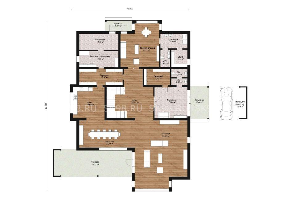 большой двухэтажный дом TWO 478 планировка первого этажа
